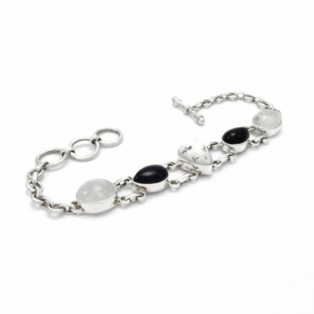 Wonderful Rainbow Moonstone, Howlite, Black Onyx Gemstone Bracelets