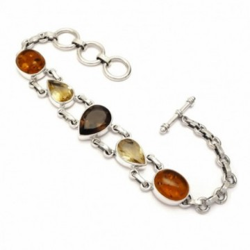 Wonderful Amber, Citrine, Smokey Quartz Gemstone  Bracelets