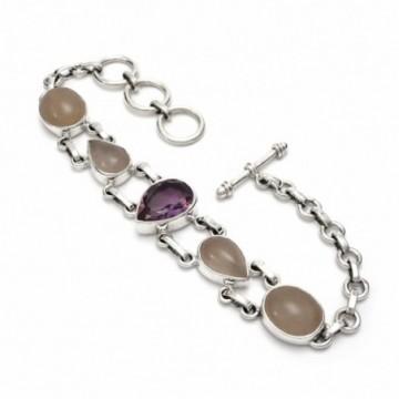 Beautiful Amethyst, Rose Quartz Gemstone  Bracelets