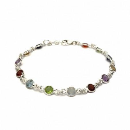 Wonderful Rainbow Moonstone, Garnet, Peridot, Blue Topaz, Citrine, Amethyst, Iolite Gemstone Bracelets