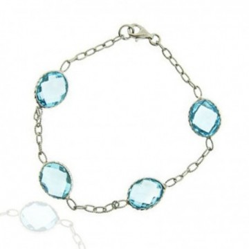 Beautiful Blue Topaz Gemstone Bazel Bracelets