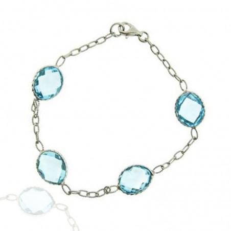 Beautiful Blue Topaz Gemstone Bazel Bracelets