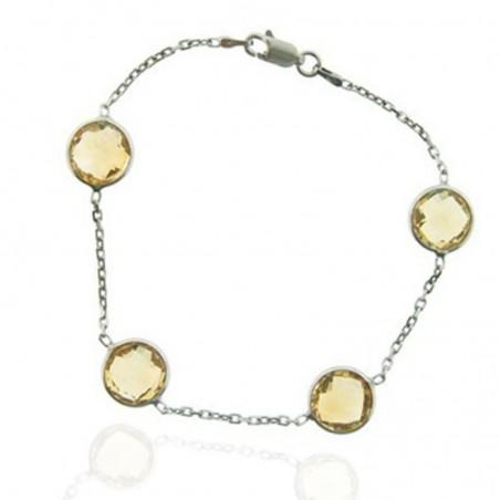 Handcrafted Citrine Gemstone Bazel Bracelets