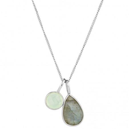 Wonderful Labradorite & Aqua Chalcedony Gemstone Necklace