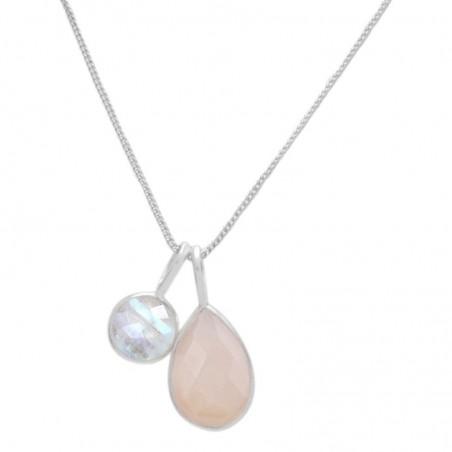 Beautiful Rainbow Moonstone & Rose Quartz Gemstone Necklace