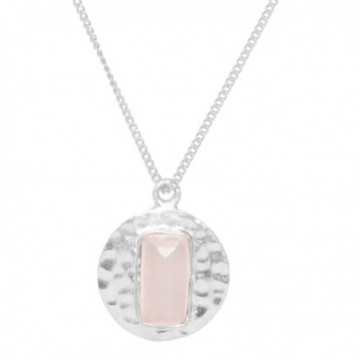 Elegant style Hammered Rose Quartz Gemstone Necklace