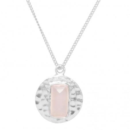 Elegant style Hammered Rose Quartz Gemstone Necklace