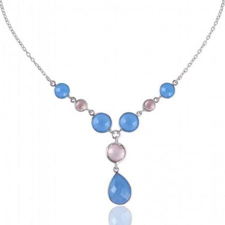 Wonderful Rose Quartz & Blue Chalcedony Gemstone Necklace