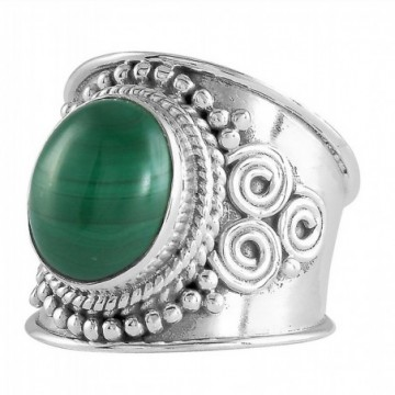 Handcrafted Malachite Gemstone Rings