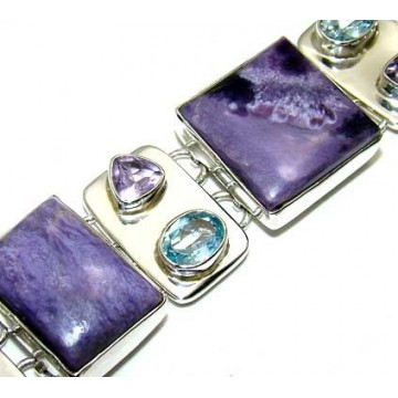 Bracelet with Charoite, Amethyst Faceted, Blue Topaz...