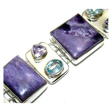 Bracelet with Charoite, Amethyst Faceted, Blue Topaz Gemstones