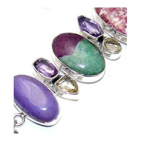 Bracelet with Ruby Zoisite, Charoite, Sea Sediment Jasper, Mixed Faceted Stones Gemstones