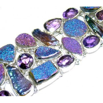 Bracelet with Titanium Drusy, Biwa Pearl, Amethyst...