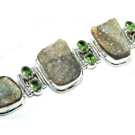 Bracelet with Citrine Rough, Peridot Faceted Gemstones