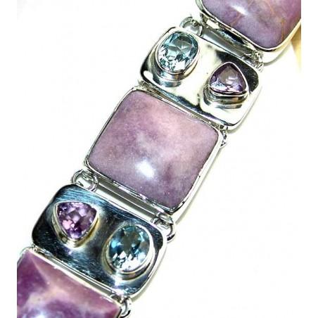Bracelet with Phosphosiderite, Mixed Faceted Stones Gemstones