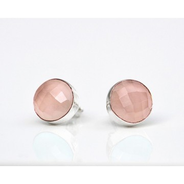 Handmade Rose Quartz Gemstone Cut Stone Studs Earrings