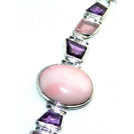 Bracelet with Pink Opal, Rose Quartz, Amethyst Faceted Gemstones