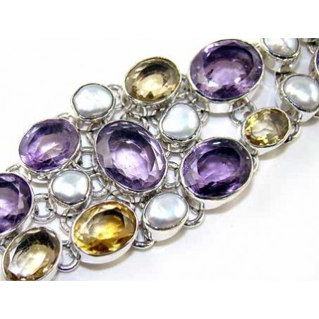 Bracelet with Amethyst Faceted, Citrine Faceted, Pearl Gemstones