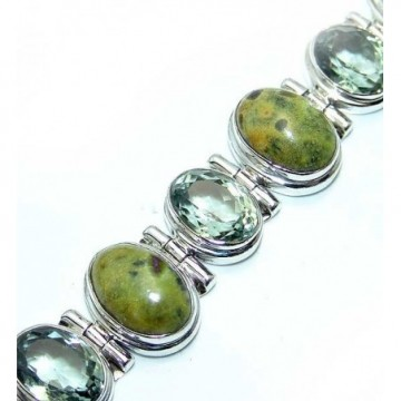 Bracelet with Stichtite, Green Amethyst Gemstones