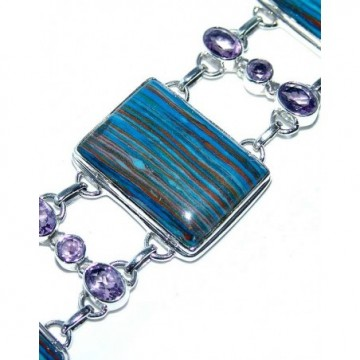 Bracelet with Rainbow Calsilica, Amethyst Faceted Gemstones