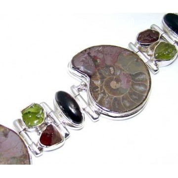 Bracelet with Ammonite, Garnet Cabochon, Peridot Rough,...