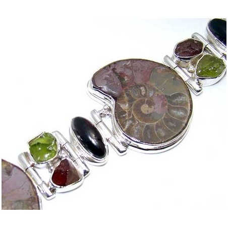 Bracelet with Ammonite, Garnet Cabochon, Peridot Rough, Garnet Rough Gemstones