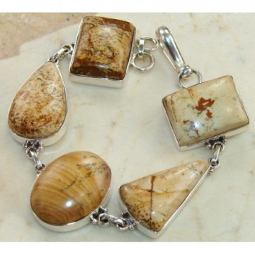 Bracelet with Picture Jasper Gemstones