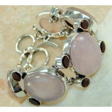 Bracelet with Rose Quartz, Garnet Faceted Gemstones