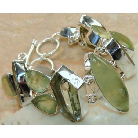 Bracelet with Prenite, Green Amethyst Gemstones