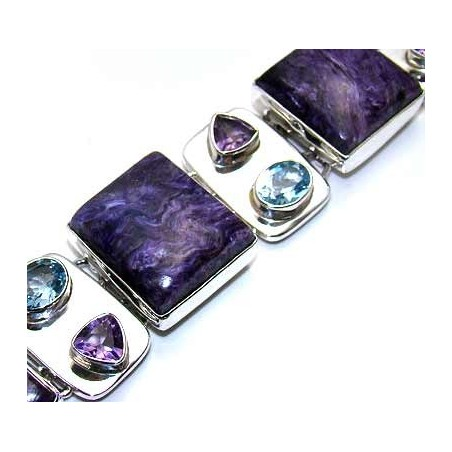 Bracelet with Charoite, Mixed Faceted Stones Gemstones