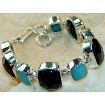 Bracelet with Onyx, Larimar Gemstones
