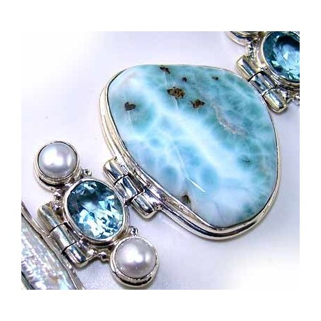 Bracelet with Larimar, Biwa Pearl, Blue Topaz Gemstones