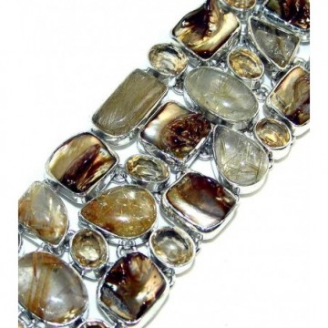 Bracelet with Golden Rutilated Quartz, Biwa Pearl,...