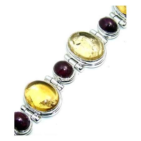 Bracelet with Citrine Cabochon, Garnet Cabochon Gemstones
