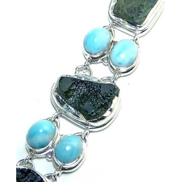 Bracelet with Moldavite, Larimar Gemstones