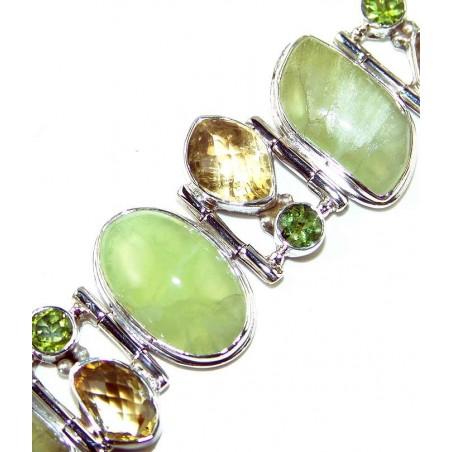 Bracelet with Prenite, Citrine Faceted, Peridot Faceted Gemstones