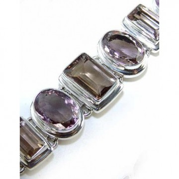 Bracelet with Smokey Quartz, Pink Amethyst Gemstones