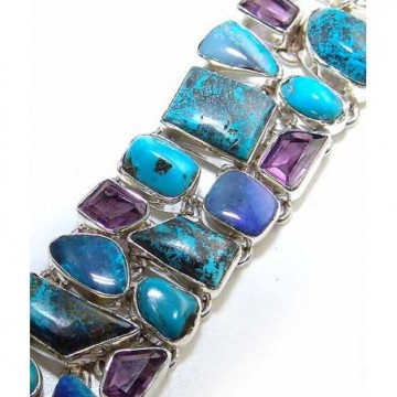 Bracelet with Azurite, Turquoise, Amethyst Faceted Gemstones