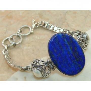 Bracelet with Lapis Lazuli, Pearl Gemstones
