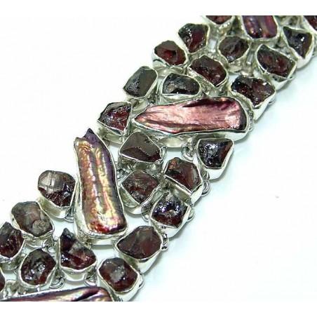 Bracelet with Smokey Quartz, Biwa Pearl Gemstones