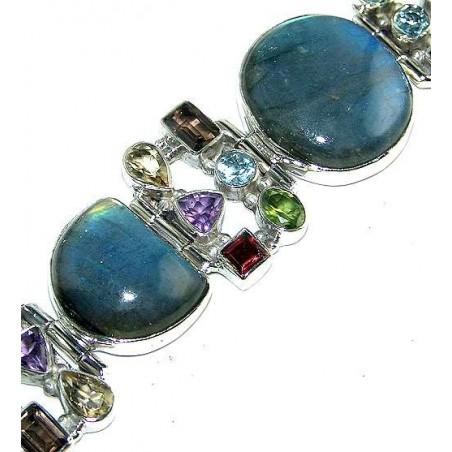 Bracelet with Labradorite, Mixed Faceted Stones Gemstones