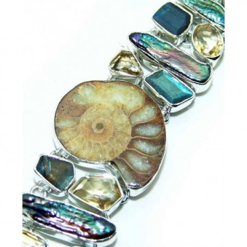 Bracelet with Ammonite, Labradorite, Citrine Faceted...