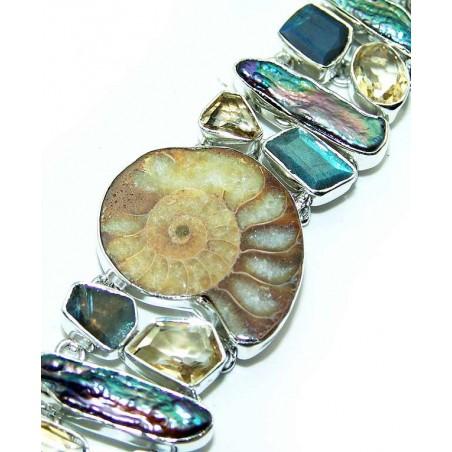 Bracelet with Ammonite, Labradorite, Citrine Faceted Gemstones