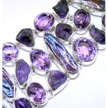 Bracelet with Amethyst Faceted, Biwa Pearl Gemstones