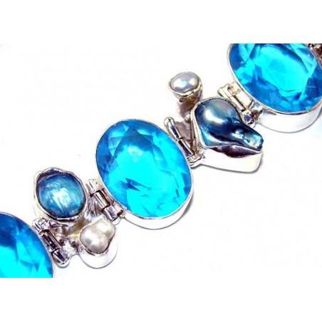 Bracelet with Glass, Biwa Pearl, Pearl Gemstones