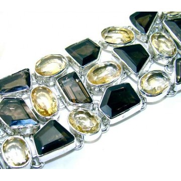 Bracelet with Citrine Faceted, Smokey Quartz Gemstones