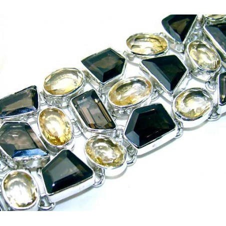 Bracelet with Citrine Faceted, Smokey Quartz Gemstones