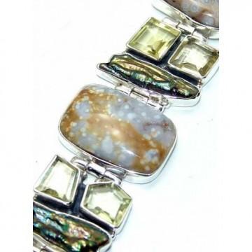 Bracelet with Jasper, Biwa Pearl, Lemon Quartz Gemstones