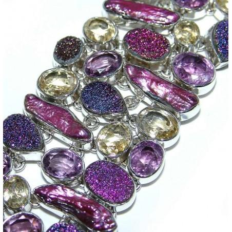 Bracelet with Titanium Drusy, Biwa Pearl, Amethyst Faceted, Citrine Faceted Gemstones