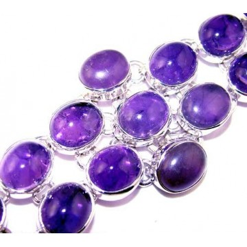 Bracelet with Amethyst Cabochon Gemstones
